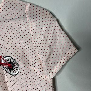 Tops - Silk Red/White Polka Dot Bicycle Embroider Blouse
